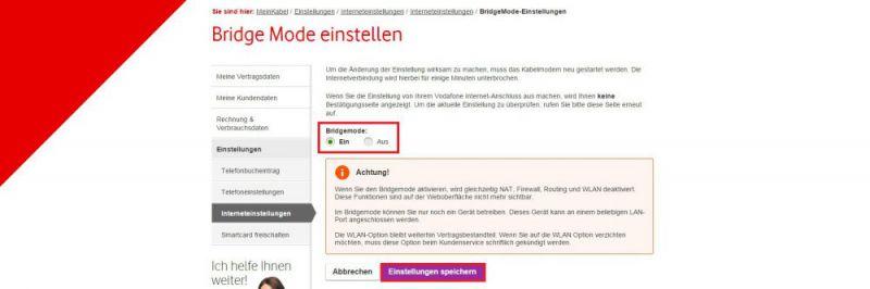Wie kann ich mein Kabelmodem von Vodafone in den Bridge