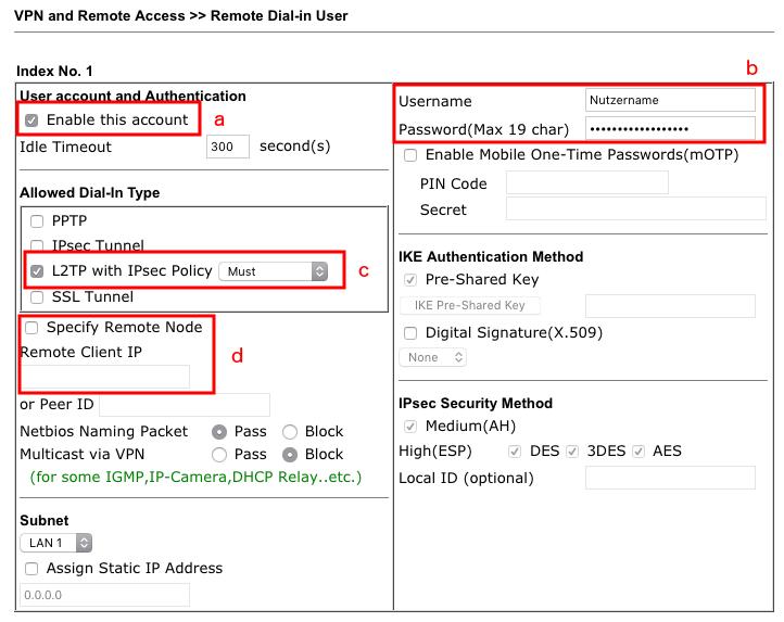 L2TP/IPSec-VPN mit Android zu einem Vigor-Router (DrayOS